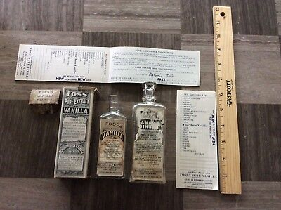 c. 1900 FOSS' EXTRACT COMPANY Portland Maine Advertising lot of embossed bottles