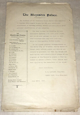 Alexandra Palace Orders & other items for June, July & August 1902  & Apology