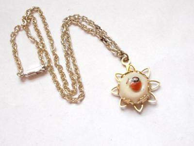 Vintage 1940's Pale Gold Tone Lucite Seashell Shell Set Pendant Necklace Germany