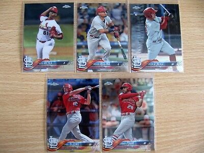 5x 2018 Topps Chrome baseball St Louis Cardinals base cards inc. O'Neill RC