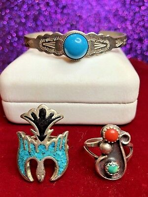 Vintage Sterling Silver Lot Native American Bracelet  2 Rings Coral Turquoise