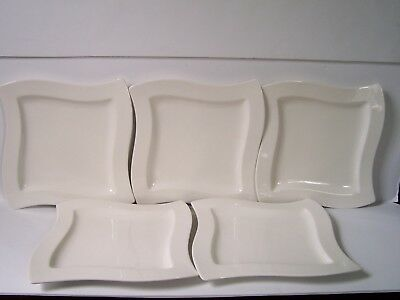 Villeroy Boch New Wave Caffe White Dinner Plates Set Of 5