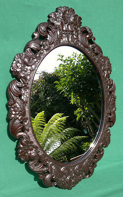 """Antique Faux Carved Wood Plaster Mirror c1910 Black Forest Style 26.25"""" by 18.25"""