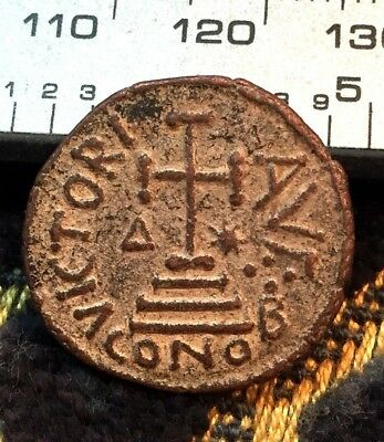 Ancient Byzantine Coin Greek Rome 900AD Coin Byzantine Bronze Jesus Christ Cross
