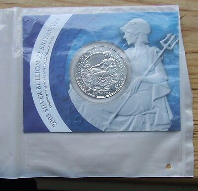 Britannia silver bullion £2 1 ounce 2005, in Mint packaging plus capsule