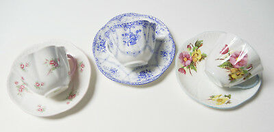 3 Vtg. Shelley Cup & Saucers - Begonia, Rose Spray & Unknown -  Excellent Cond.!