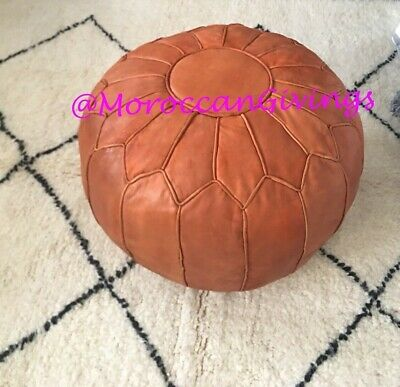 100% Leather Handcrafted Moroccan Pouffe White with Turquoise embroidery