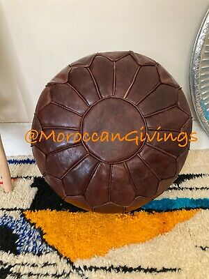 Moroccan Genuine Handcrafted 100% Leather Pouffe Contemporary Chocolate