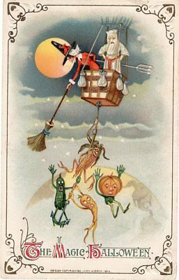 BEAUTIFUL HALLOWEEN POSTCARD WINSCH SERIE 450/21 No. 3938 COPYRIGHT 1914