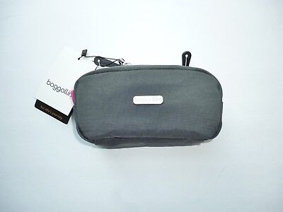 Baggallini square cosmetic case NWT grey with pink