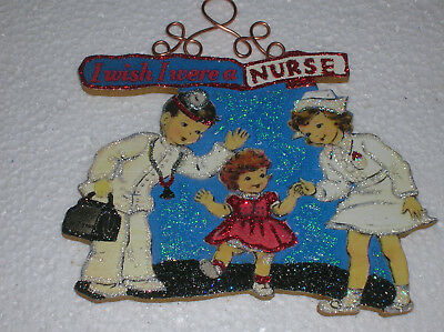 I WISH I WERE A NURSE ~ GLITTER CHRISTMAS ORNAMENT * Vintage Card Image