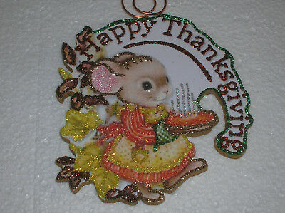 THANKSGIVING MOUSE WITH PIE ~ GLITTER THANKSGIVING ORNAMENT * Vintage Image