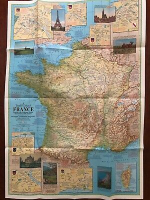 National Geographic*** Map Only ***travelers Map Of France*** June 1971