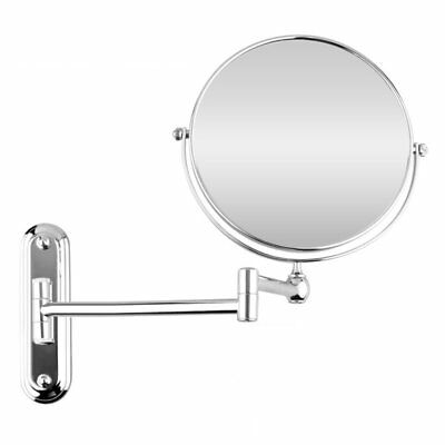 Silver Extending 8 inches cosmetic wall mounted make up mirror shaving bath I9D3