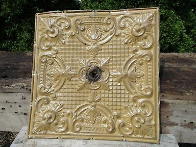 "24"" x 24"" Ornate Antique Tin Ceiling Tile w/ Mustard Color, Light Fixture Hole"