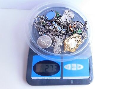 Vintage 273 Grams 925 Sterling Silver Mixed Lot Jewelry All Scrap Or Repair