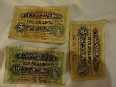 British East Africa Banknotes 2x5 and 10 Shillings 1954, 1956