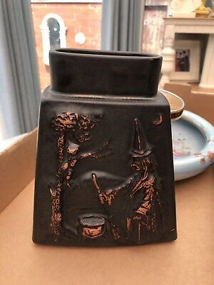 STUDIO POTTERY FLAT VASE WITH WITCH Cauldron EMBOSSED DECORATION HALLOWEEN LOOK