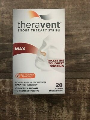 Theravent Snore Therapy Max 20 Flexible Nasal Strips EXPIRATION 2020