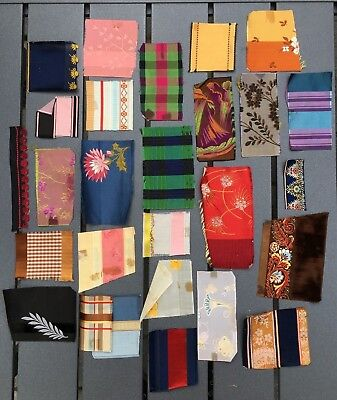 Antique silk ribbon trim swatches samples beautiful rich colors patterns lot B