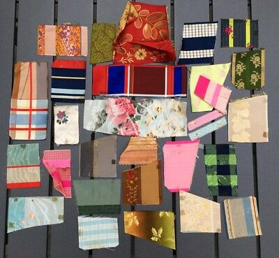 Antique silk ribbon trim swatches samples beautiful rich colors patterns lot A