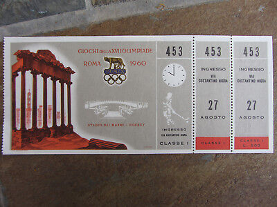 1960 Rome Olympic Games Ticket First Class Hockey Originale E Completo