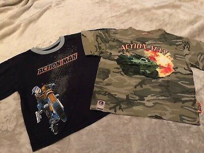 2 Boys Action Man T-Shirts Aged 2-3 Years Blue and Camouflage