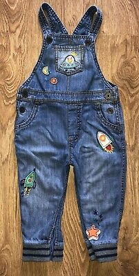 Next Baby Boys Space Rocket Denim Dungarees 12-18 Months!!