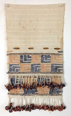 Antique Embroidered Turkish Towel Textile Tassels Table Runner Ottoman Berber