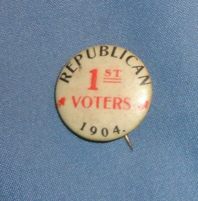1904 Political Pin Republican 1st Voters Made By Tunnel City Co. 114 Years Old