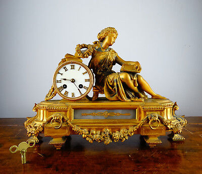 Antique Victorian French Gilt Metal Figural Mantel Clock Chiming 8 Day PH Mourey