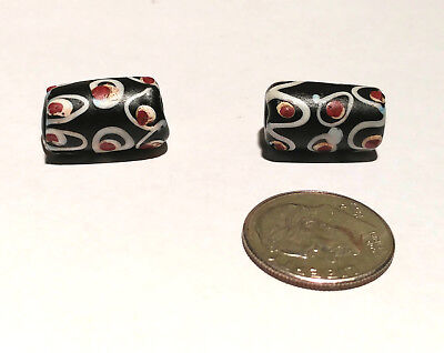 Pair of Rare Antique Venetian Black Fancy Eye African Glass Trade Beads