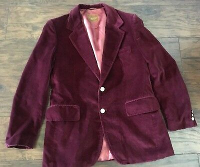 Vintage wine burgundy velvet mens retro blazer gold buttons Europe  42R