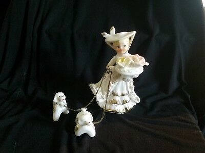 Lipper & Mann Vintage Figurine - lady with two dogs