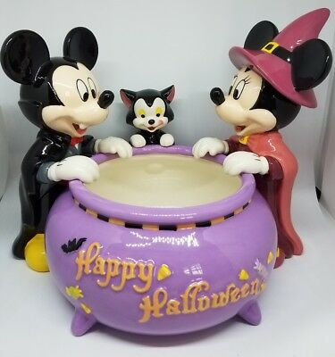 Disney Store Halloween Candy Dish Bowl Vampire Mickey Witch Minnie Figaro Nib