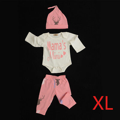 Pink-XL 3pcs Newborn Baby Boys Girl Tops Tops Pants Outfits Set Clothes Set