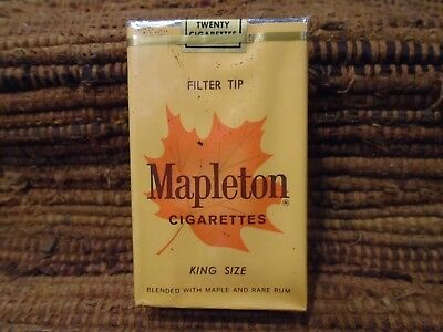 1970's Mapleton King Size Cigarette Pack Blended with Maple & Rare Rum Near Mint