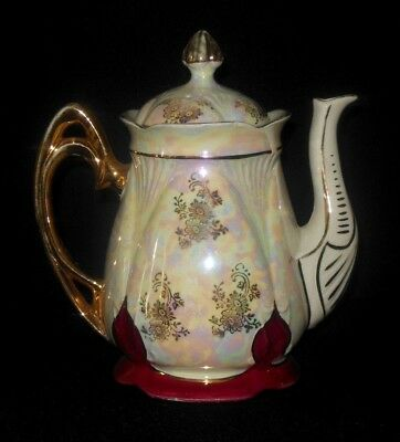 Vintage Red Pearlized Tea Pot Gold Flowers