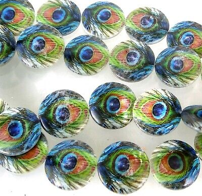 """20mm Peacock Mother Of Pearl Disc Coin MOP Beads 16"""""""