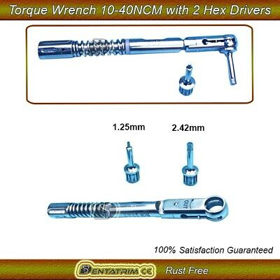 Dental Implant Torque Wrench Ratchet 10-40 NCM With Drivers