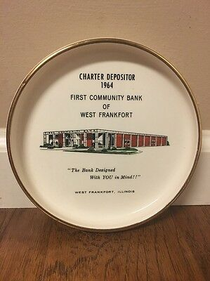 Vintage 1964 Charter Depositor First Community Bank West Frankfort IL Ash Tray