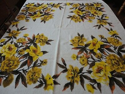 """Vintage 1970's Terrycloth Tablecloth 50"""" X 45"""" Gold Floral"""