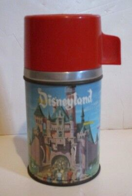 Vintage Disney Disneyland Metal Glass Thermos Bottle Only From Aladdin Lunchbox