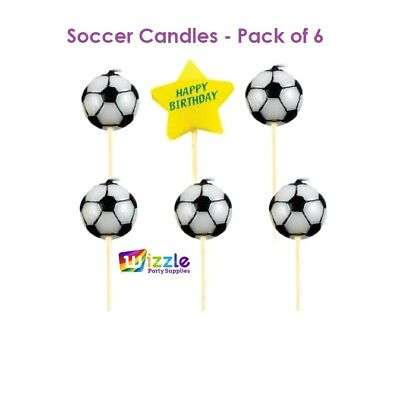 Soccer Candles Pack of 6 Ball Football Sporting Party Supplies Cake Toppers