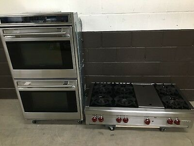 2 Pc Set Wolf Range Top 48 Srt486g And 30 Doble Wall Oven Do30f S