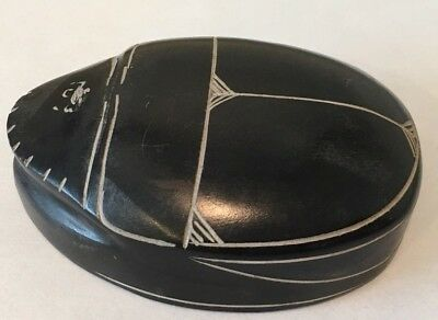 Ancient Egyptian Amulet Antique Large Scarab Beetle Carved Stone Hieroglyphics