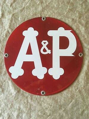 Old A&P Grocery Store Chain Porcelain Advertising Sign