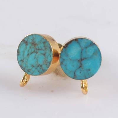 10mm Round Genuine Turquoise Stud Post With Loop Gold Plated DIY Making H120440