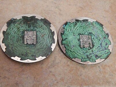 Antique Peru  Sterling & Enamel Hand Hammered 2 Wall Plaques, Maya Design