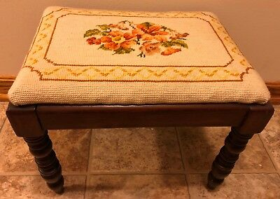 Vtg Needlepoint Floral FOOTSTOOL wooden Rectangle yellow orange tapestry flowers